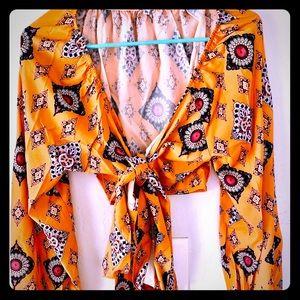 Women's Front Tie Boho Print Orange Blouse Top